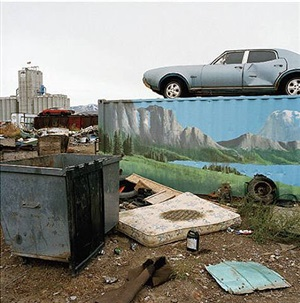 untitled, pocatello, idaho [car, dumpster, mattress] by phil bergerson